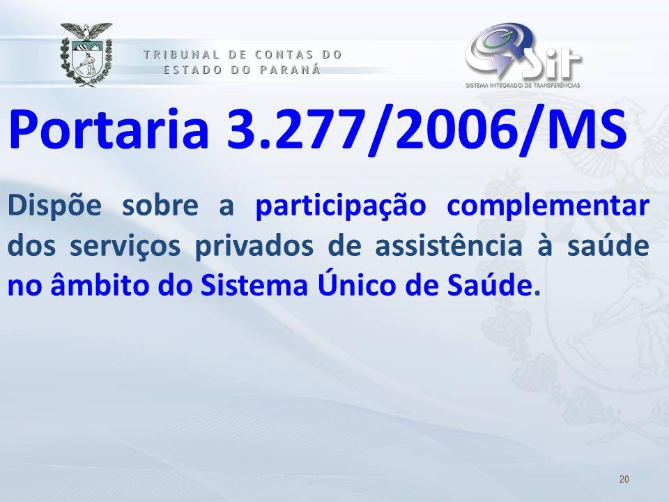 Portaria 3.277/2006/MS Dispõe sobre a participação complementar dos serviços privados de assistência à saúde no âmbito do Sistema Único de Saúde. 20
