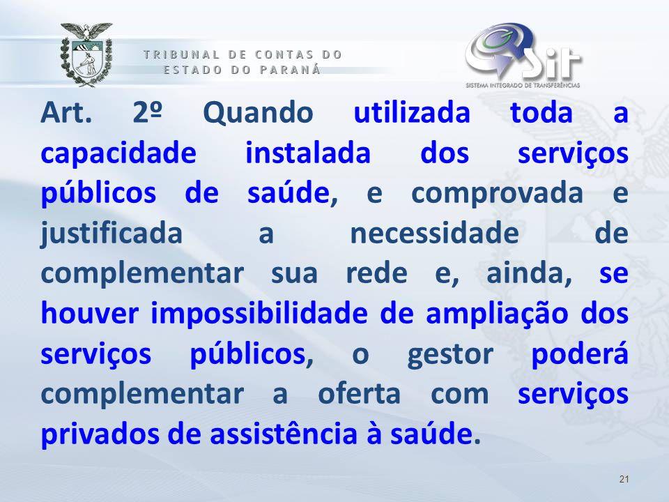 Art. 2º Quando utilizada toda a capacidade instalada dos serviços públicos de saúde, e comprovada e justificada a necessidade de complementar sua rede