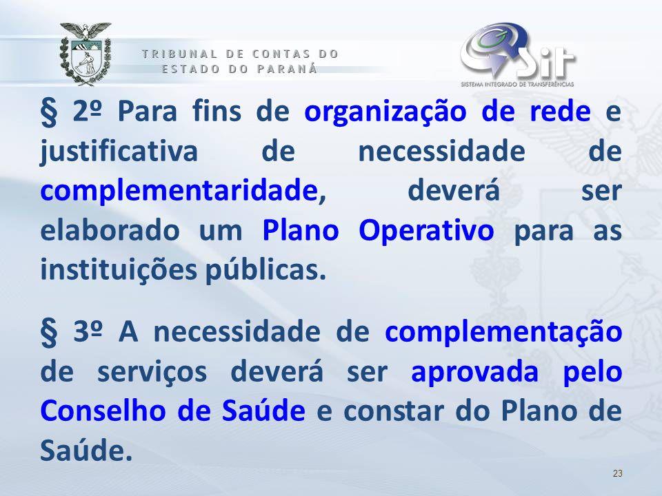 § 2º Para fins de organização de rede e justificativa de necessidade de complementaridade, deverá ser elaborado um Plano Operativo para as instituiçõe