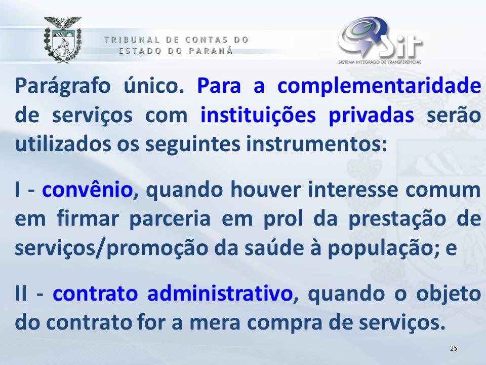 Parágrafo único. Para a complementaridade de serviços com instituições privadas serão utilizados os seguintes instrumentos: I - convênio, quando houve