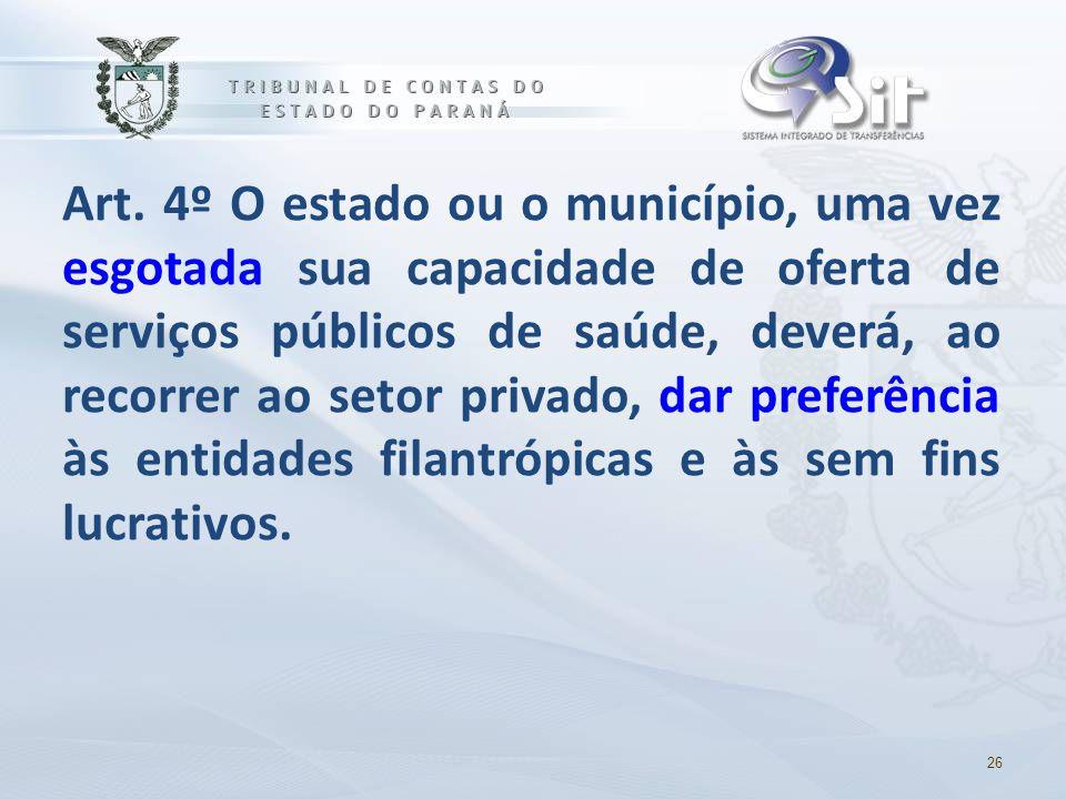 Art. 4º O estado ou o município, uma vez esgotada sua capacidade de oferta de serviços públicos de saúde, deverá, ao recorrer ao setor privado, dar pr