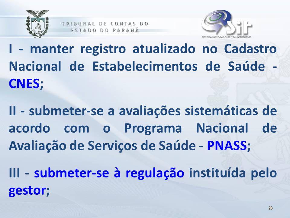 I - manter registro atualizado no Cadastro Nacional de Estabelecimentos de Saúde - CNES; II - submeter-se a avaliações sistemáticas de acordo com o Pr