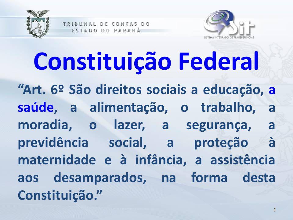 """Constituição Federal """"Art. 6º São direitos sociais a educação, a saúde, a alimentação, o trabalho, a moradia, o lazer, a segurança, a previdência soci"""