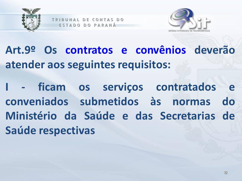 Art.9º Os contratos e convênios deverão atender aos seguintes requisitos: I - ficam os serviços contratados e conveniados submetidos às normas do Mini