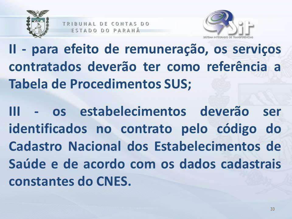 II - para efeito de remuneração, os serviços contratados deverão ter como referência a Tabela de Procedimentos SUS; III - os estabelecimentos deverão