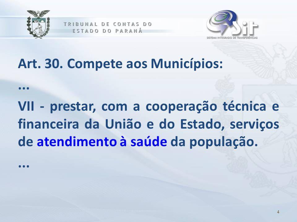 Art. 30. Compete aos Municípios:... VII - prestar, com a cooperação técnica e financeira da União e do Estado, serviços de atendimento à saúde da popu