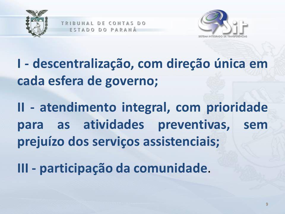 I - descentralização, com direção única em cada esfera de governo; II - atendimento integral, com prioridade para as atividades preventivas, sem preju
