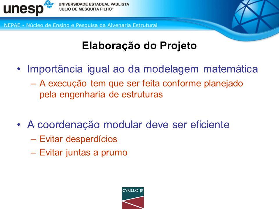 Elaboração do Projeto •Importância igual ao da modelagem matemática –A execução tem que ser feita conforme planejado pela engenharia de estruturas •A