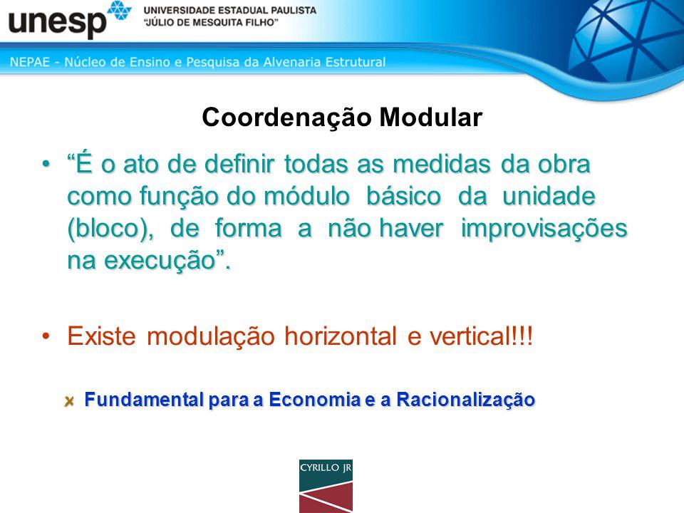 """Coordenação Modular •""""É o ato de definir todas as medidas da obra como função do módulo básico da unidade (bloco), de forma a não haver improvisações"""