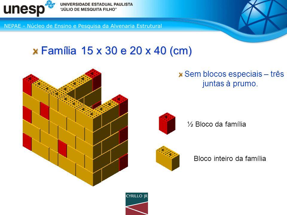 Família 15 x 30 e 20 x 40 (cm) Família 15 x 30 e 20 x 40 (cm) ½ Bloco da família Bloco inteiro da família Sem blocos especiais – três juntas à prumo.