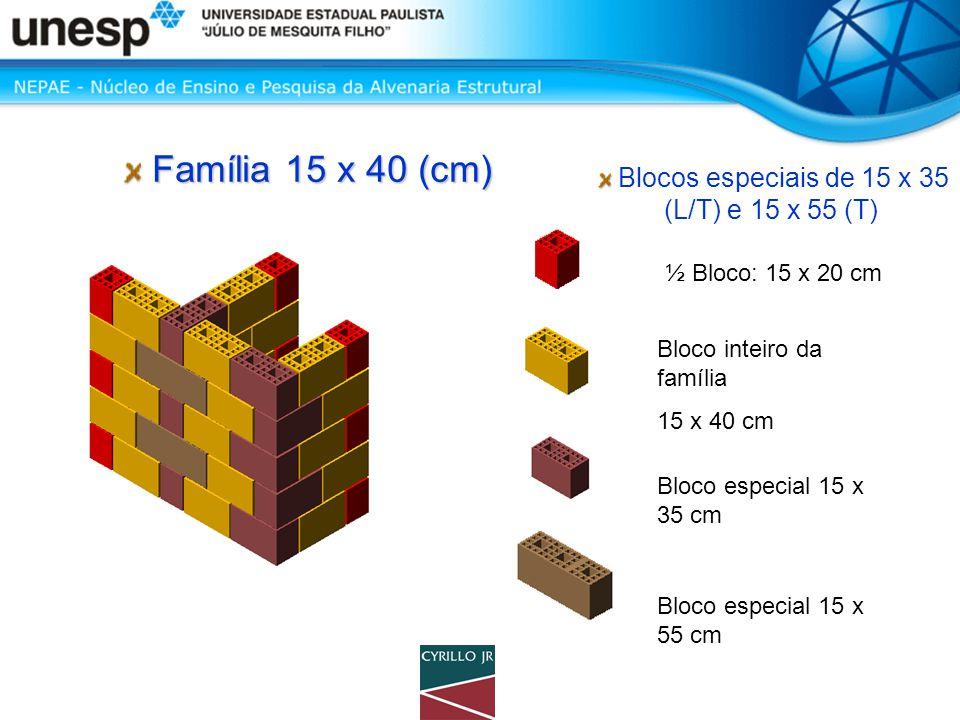 Blocos especiais de 15 x 35 (L/T) e 15 x 55 (T) ½ Bloco: 15 x 20 cm Bloco inteiro da família 15 x 40 cm Bloco especial 15 x 55 cm Bloco especial 15 x