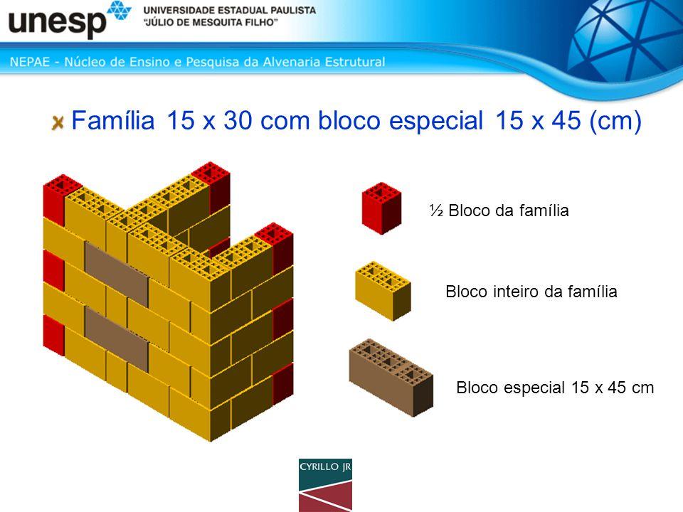 Família 15 x 30 com bloco especial 15 x 45 (cm) ½ Bloco da família Bloco inteiro da família Bloco especial 15 x 45 cm