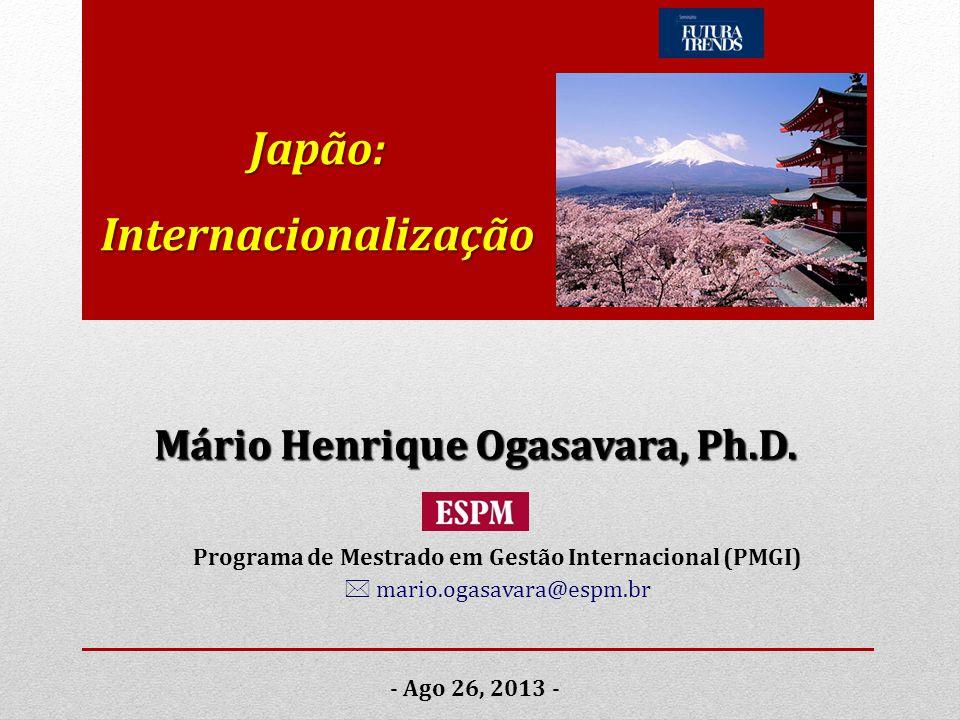 Japão: Internacionalização - Ago 26, 2013 - Mário Henrique Ogasavara, Ph.D. Programa de Mestrado em Gestão Internacional (PMGI)  mario.ogasavara@espm