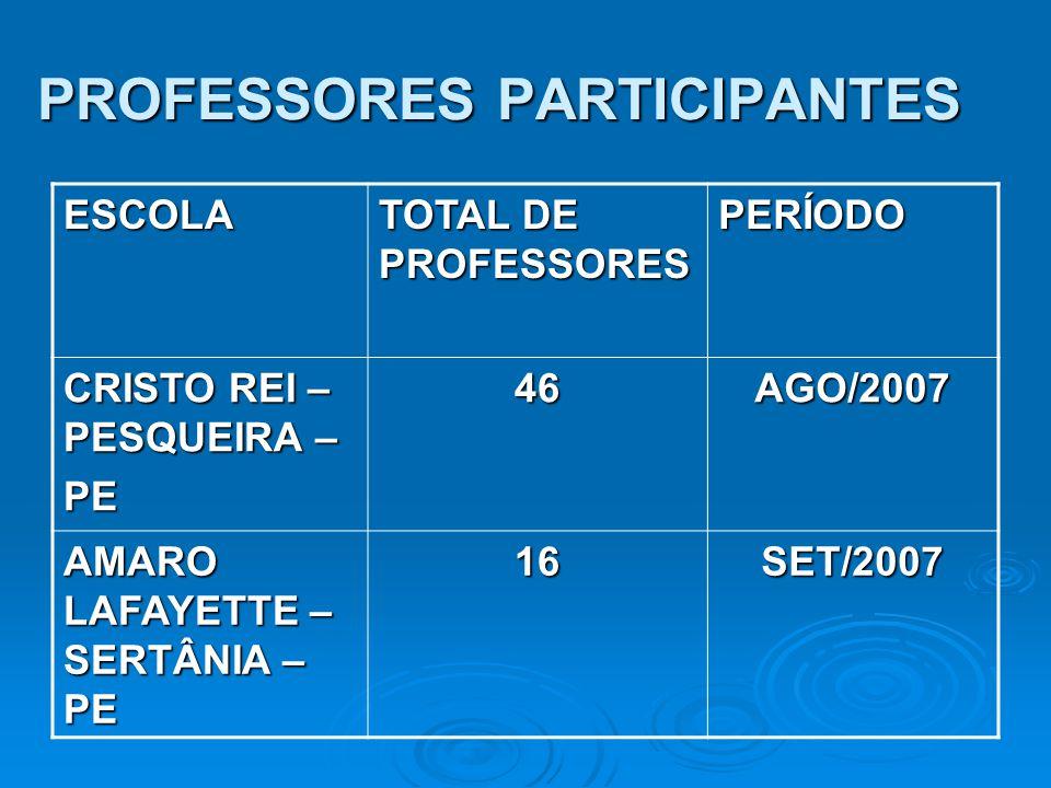 PROFESSORES PARTICIPANTES ESCOLA TOTAL DE PROFESSORES PERÍODO CRISTO REI – PESQUEIRA – PE46AGO/2007 AMARO LAFAYETTE – SERTÂNIA – PE 16SET/2007
