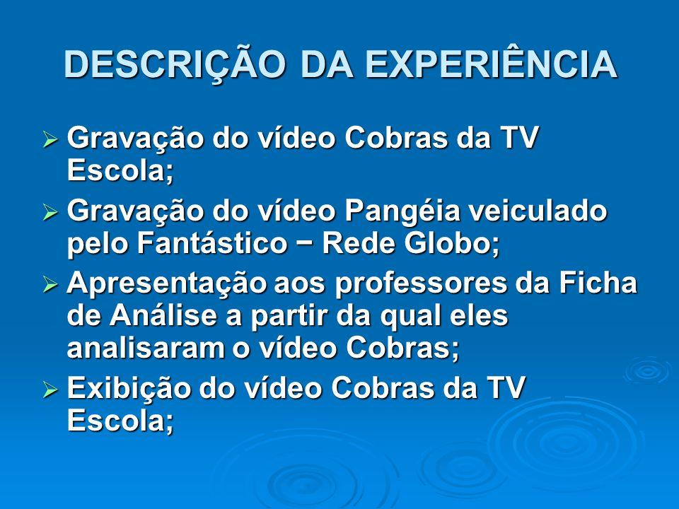 DESCRIÇÃO DA EXPERIÊNCIA  Gravação do vídeo Cobras da TV Escola;  Gravação do vídeo Pangéia veiculado pelo Fantástico − Rede Globo;  Apresentação a