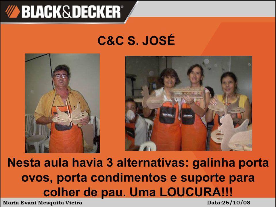 Maria Evani Mesquita Vieira Data:25/10/08 C&C S. JOSÉ Nesta aula havia 3 alternativas: galinha porta ovos, porta condimentos e suporte para colher de