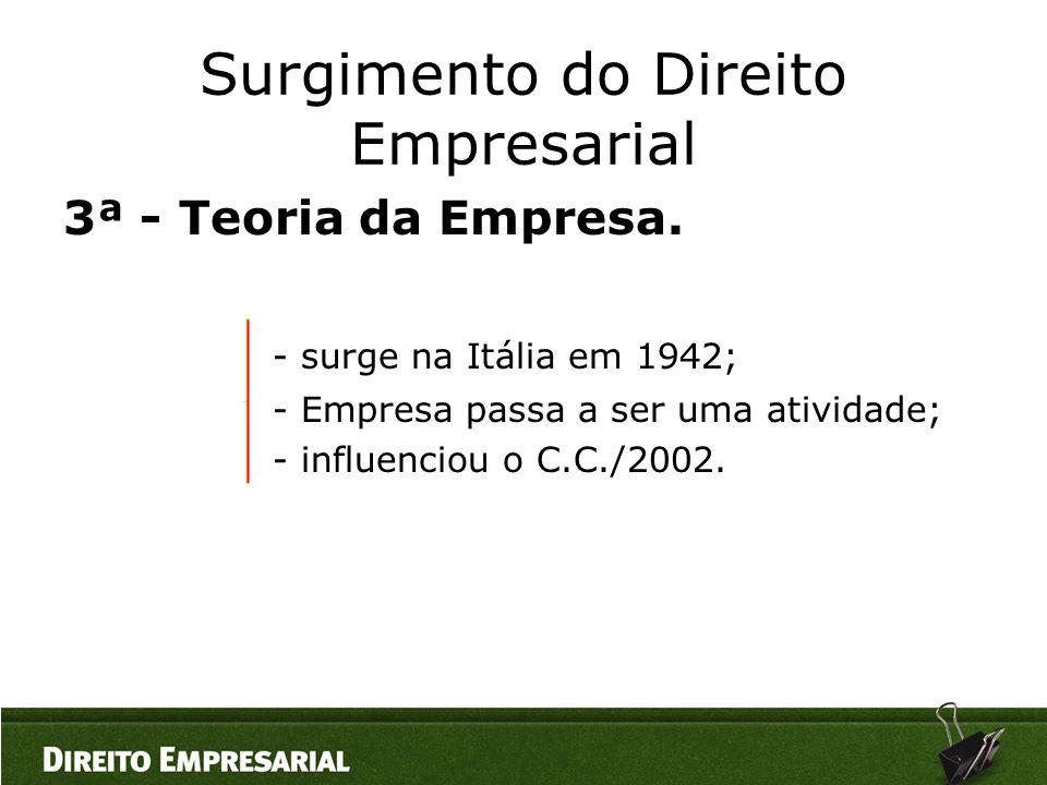 Surgimento do Direito Empresarial 3ª - Teoria da Empresa. - surge na Itália em 1942; - Empresa passa a ser uma atividade; - influenciou o C.C./2002.