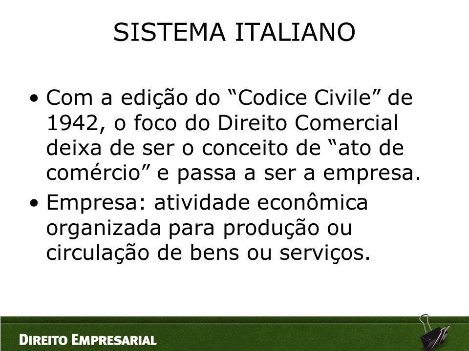 """SISTEMA ITALIANO •Com a edição do """"Codice Civile"""" de 1942, o foco do Direito Comercial deixa de ser o conceito de """"ato de comércio"""" e passa a ser a em"""