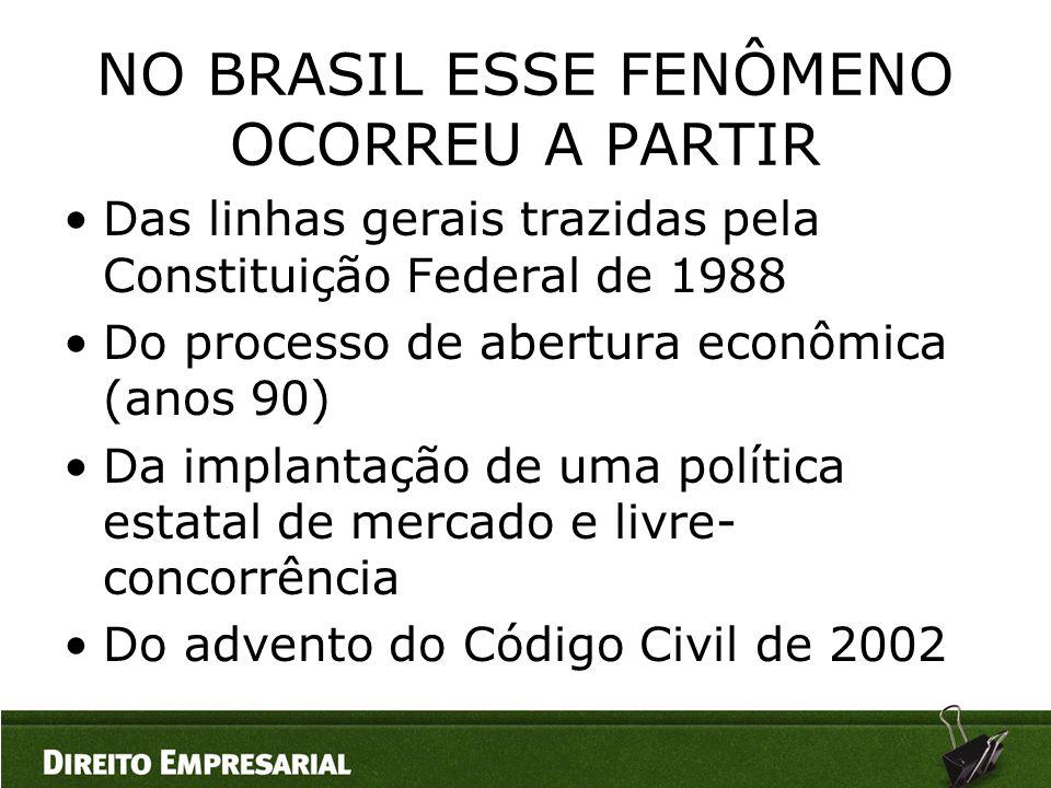 NO BRASIL ESSE FENÔMENO OCORREU A PARTIR •Das linhas gerais trazidas pela Constituição Federal de 1988 •Do processo de abertura econômica (anos 90) •D
