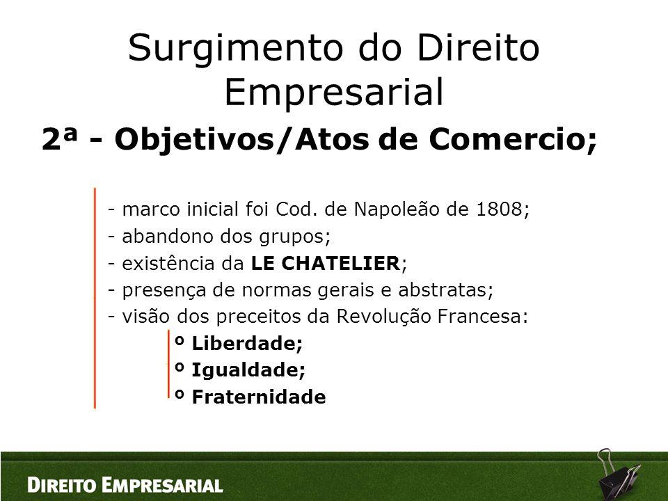 Surgimento do Direito Empresarial 2ª - Objetivos/Atos de Comercio; - marco inicial foi Cod. de Napoleão de 1808; - abandono dos grupos; - existência d