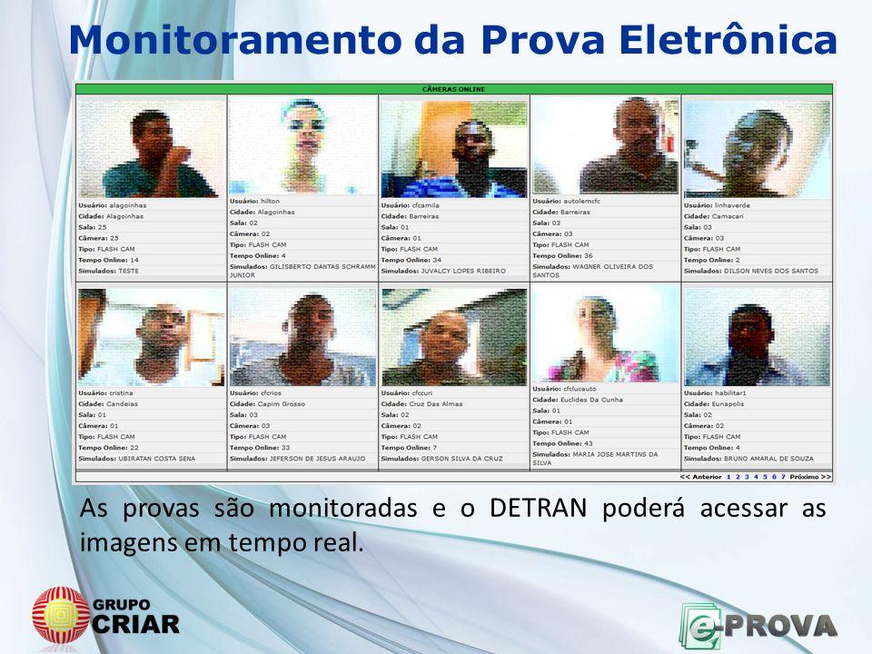 Monitoramento da Prova Eletrônica As provas são monitoradas e o DETRAN poderá acessar as imagens em tempo real.