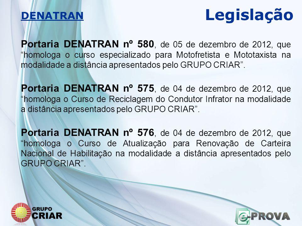 """Portaria DENATRAN nº 580, de 05 de dezembro de 2012, que """"homologa o curso especializado para Motofretista e Mototaxista na modalidade a distância apr"""