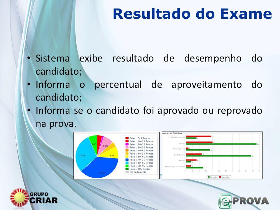 Resultado do Exame • Sistema exibe resultado de desempenho do candidato; • Informa o percentual de aproveitamento do candidato; • Informa se o candida