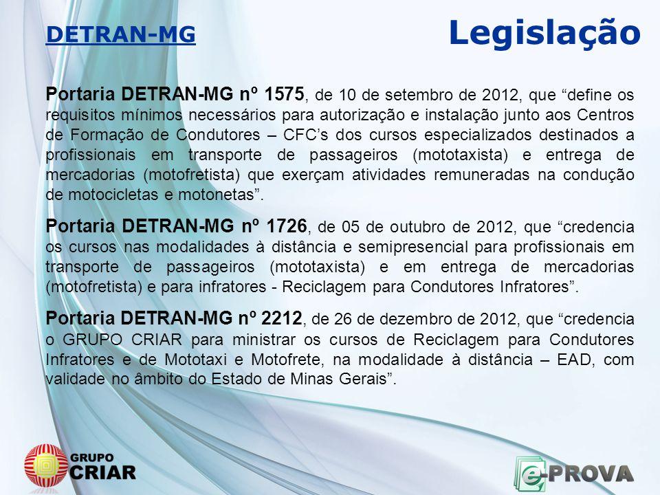 """Portaria DETRAN-MG nº 1575, de 10 de setembro de 2012, que """"define os requisitos mínimos necessários para autorização e instalação junto aos Centros d"""