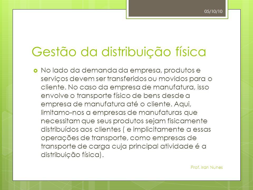Gestão da distribuição física  No lado da demanda da empresa, produtos e serviços devem ser transferidos ou movidos para o cliente. No caso da empres