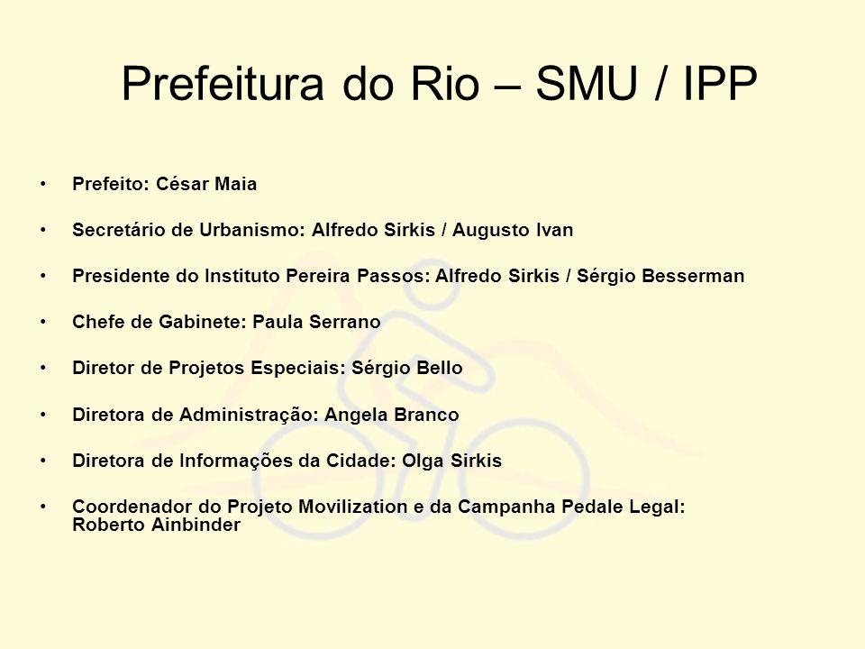 Prefeitura do Rio – SMU / IPP •Prefeito: César Maia •Secretário de Urbanismo: Alfredo Sirkis / Augusto Ivan •Presidente do Instituto Pereira Passos: A