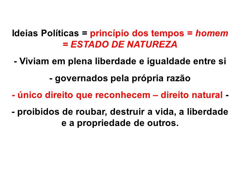 Ideias Políticas = princípio dos tempos = homem = ESTADO DE NATUREZA - Viviam em plena liberdade e igualdade entre si - governados pela própria razão