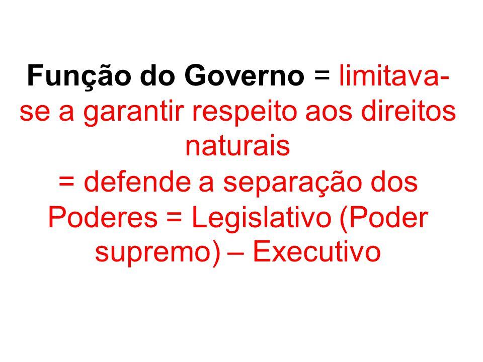Função do Governo = limitava- se a garantir respeito aos direitos naturais = defende a separação dos Poderes = Legislativo (Poder supremo) – Executivo