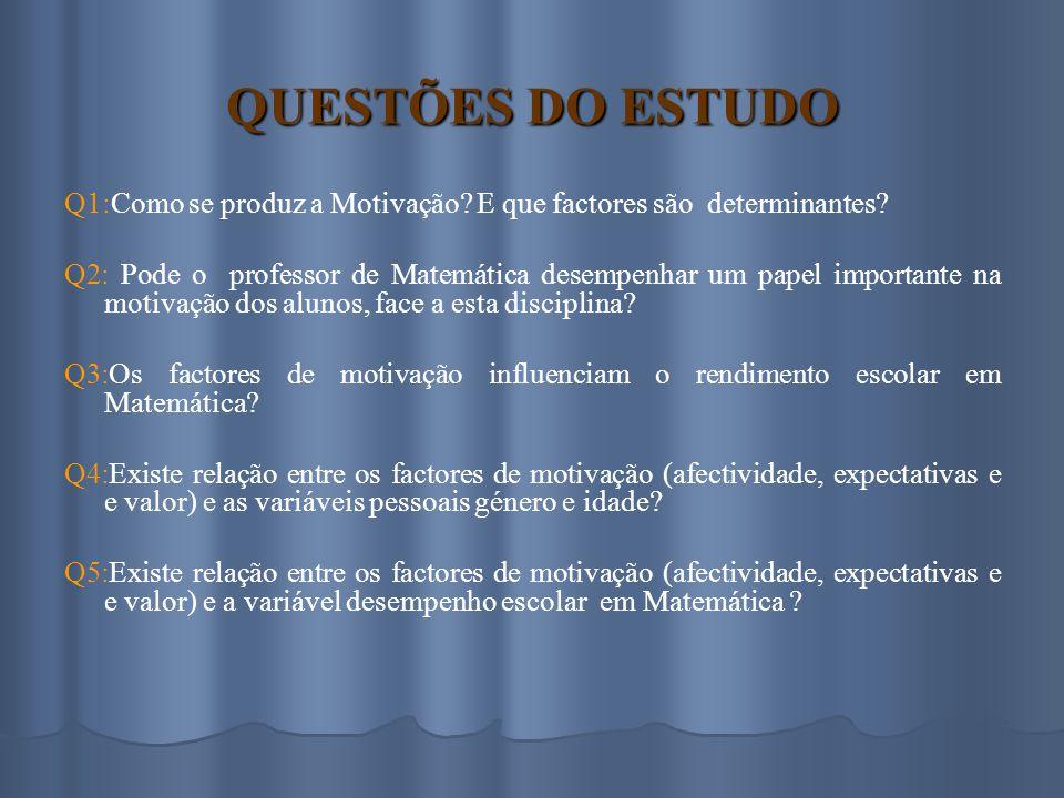 QUESTÕES DO ESTUDO Q1:Como se produz a Motivação? E que factores são determinantes? Q2: Pode o professor de Matemática desempenhar um papel importante