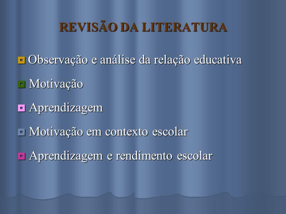 REVISÃO DA LITERATURA  Observação e análise da relação educativa  Motivação  Aprendizagem  Motivação em contexto escolar  Aprendizagem e rendimento escolar