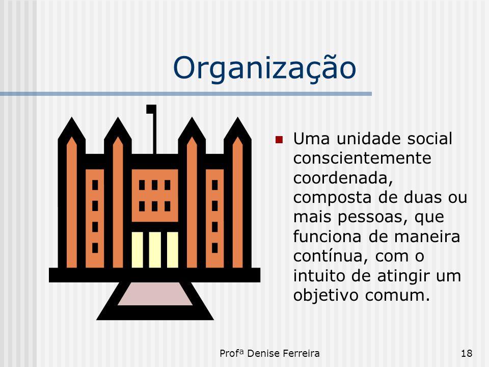 Profª Denise Ferreira18 Organização  Uma unidade social conscientemente coordenada, composta de duas ou mais pessoas, que funciona de maneira contínu