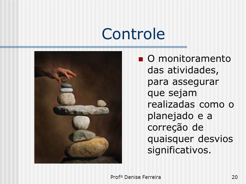 Profª Denise Ferreira20 Controle  O monitoramento das atividades, para assegurar que sejam realizadas como o planejado e a correção de quaisquer desv