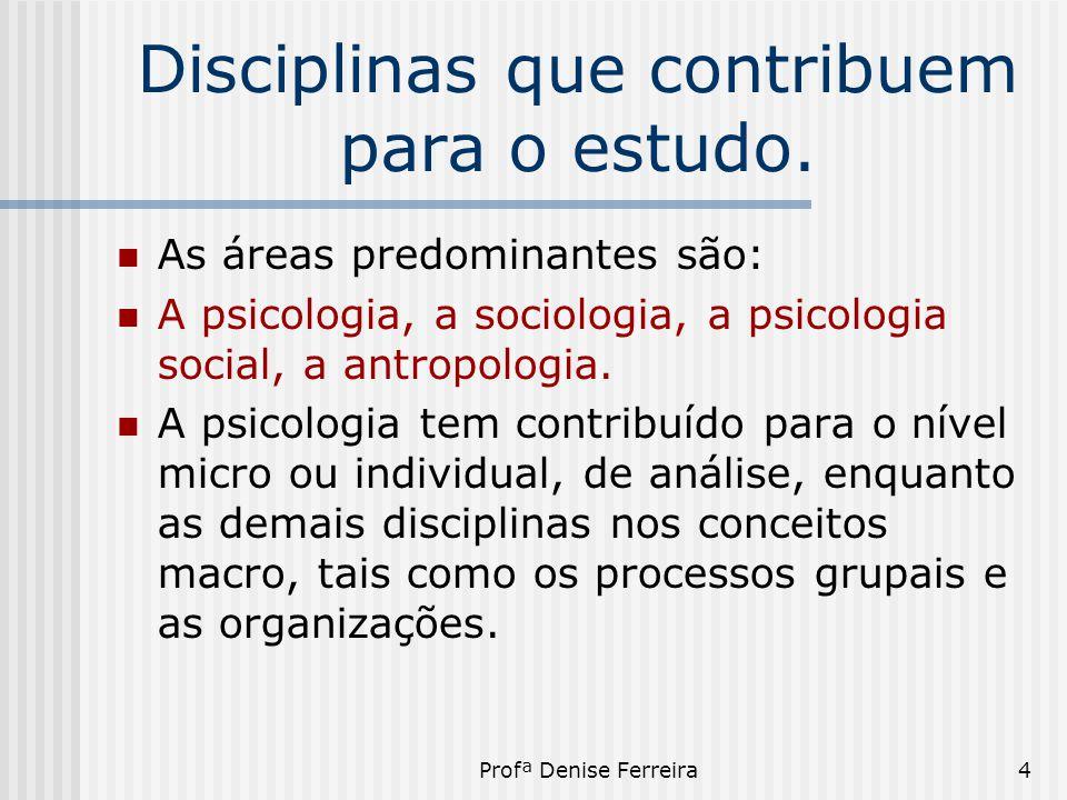 Profª Denise Ferreira4 Disciplinas que contribuem para o estudo.  As áreas predominantes são:  A psicologia, a sociologia, a psicologia social, a an