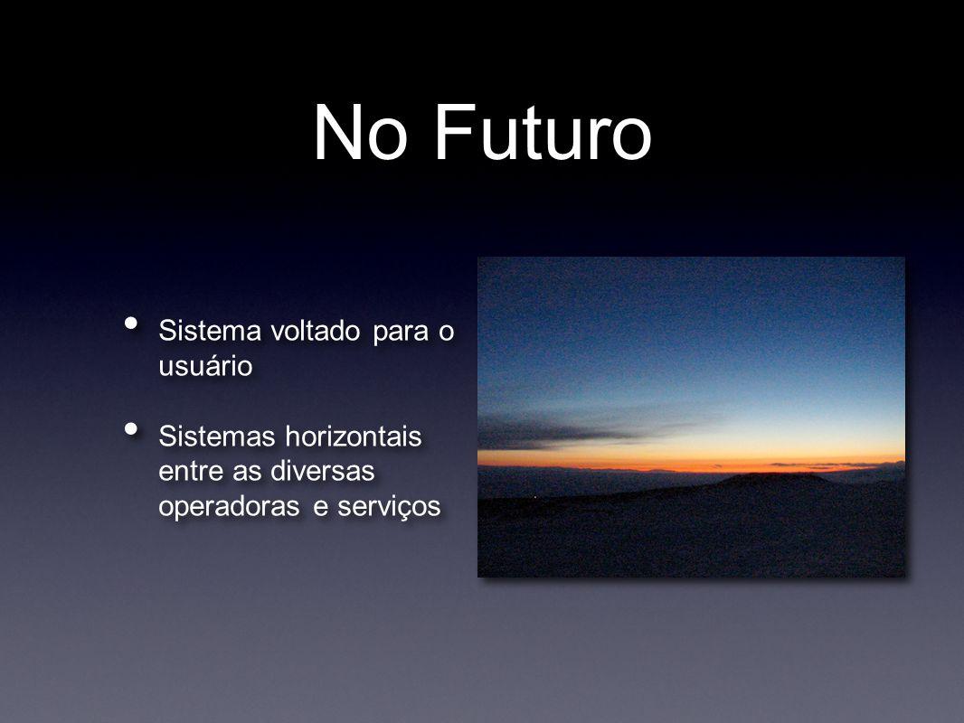 No Futuro • Sistema voltado para o usuário • Sistemas horizontais entre as diversas operadoras e serviços • Sistema voltado para o usuário • Sistemas horizontais entre as diversas operadoras e serviços