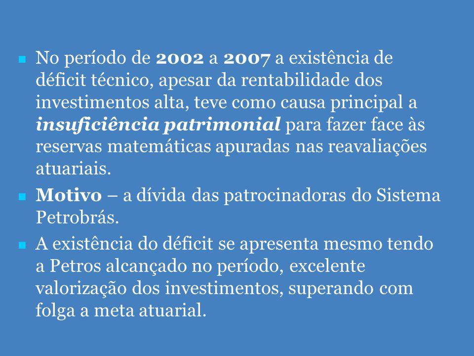   No período de 2002 a 2007 a existência de déficit técnico, apesar da rentabilidade dos investimentos alta, teve como causa principal a insuficiência patrimonial para fazer face às reservas matemáticas apuradas nas reavaliações atuariais.