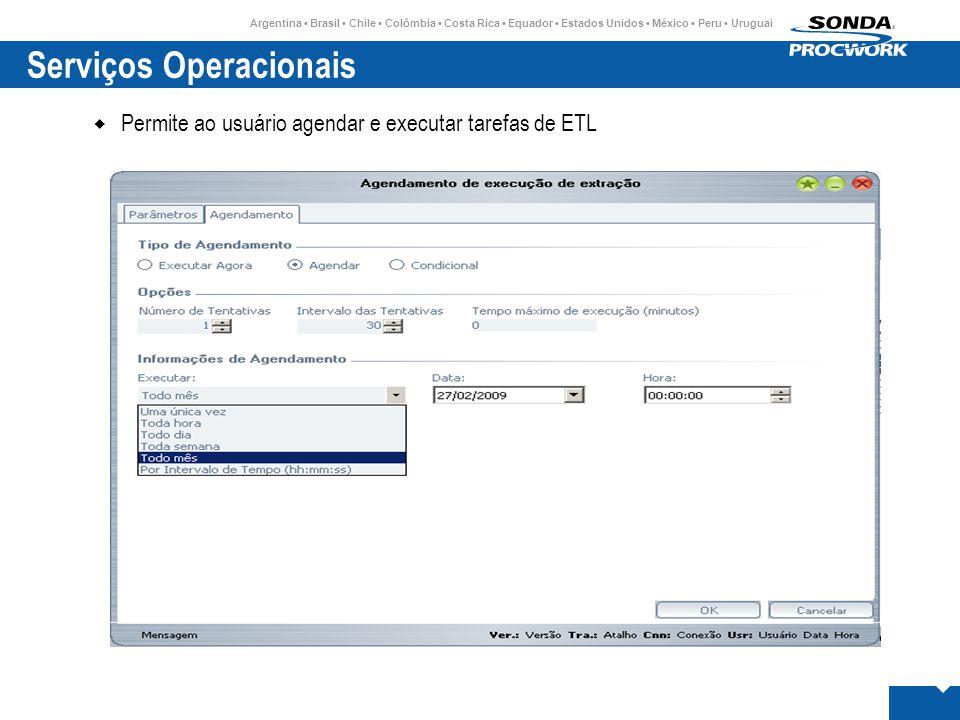 Argentina • Brasil • Chile • Colômbia • Costa Rica • Equador • Estados Unidos • México • Peru • Uruguai Serviços Operacionais  Permite ao usuário agendar e executar tarefas de ETL