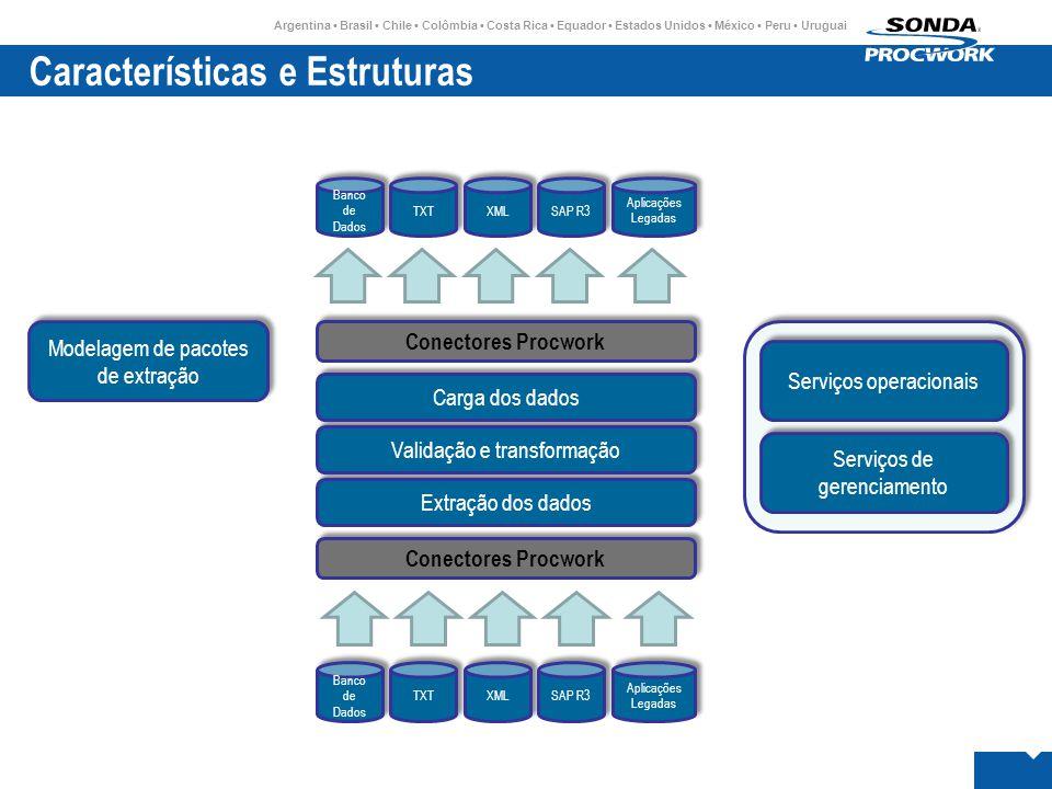 Argentina • Brasil • Chile • Colômbia • Costa Rica • Equador • Estados Unidos • México • Peru • Uruguai Características e Estruturas Banco de Dados TXT XML Aplicações Legadas Aplicações Legadas SAP R3 Modelagem de pacotes de extração Banco de Dados TXT XML Aplicações Legadas Aplicações Legadas SAP R3 Serviços operacionais Serviços de gerenciamento Conectores Procwork Extração dos dados Validação e transformação Carga dos dados