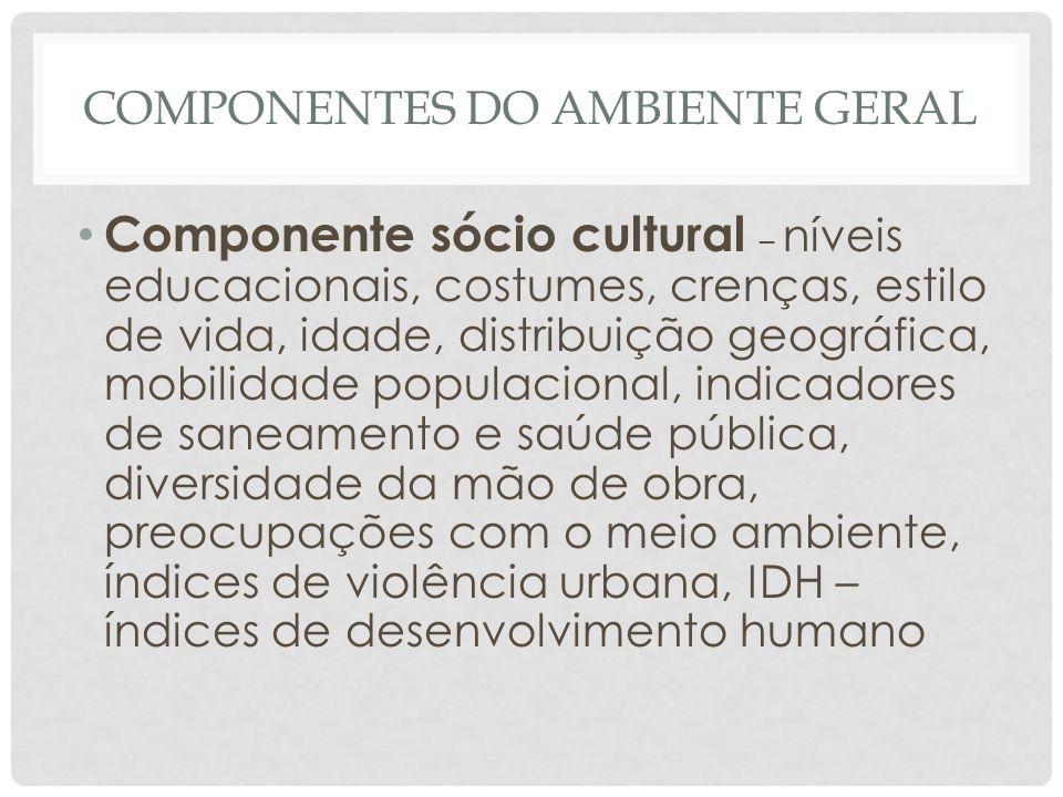 COMPONENTES DO AMBIENTE GERAL • Componente sócio cultural – níveis educacionais, costumes, crenças, estilo de vida, idade, distribuição geográfica, mo