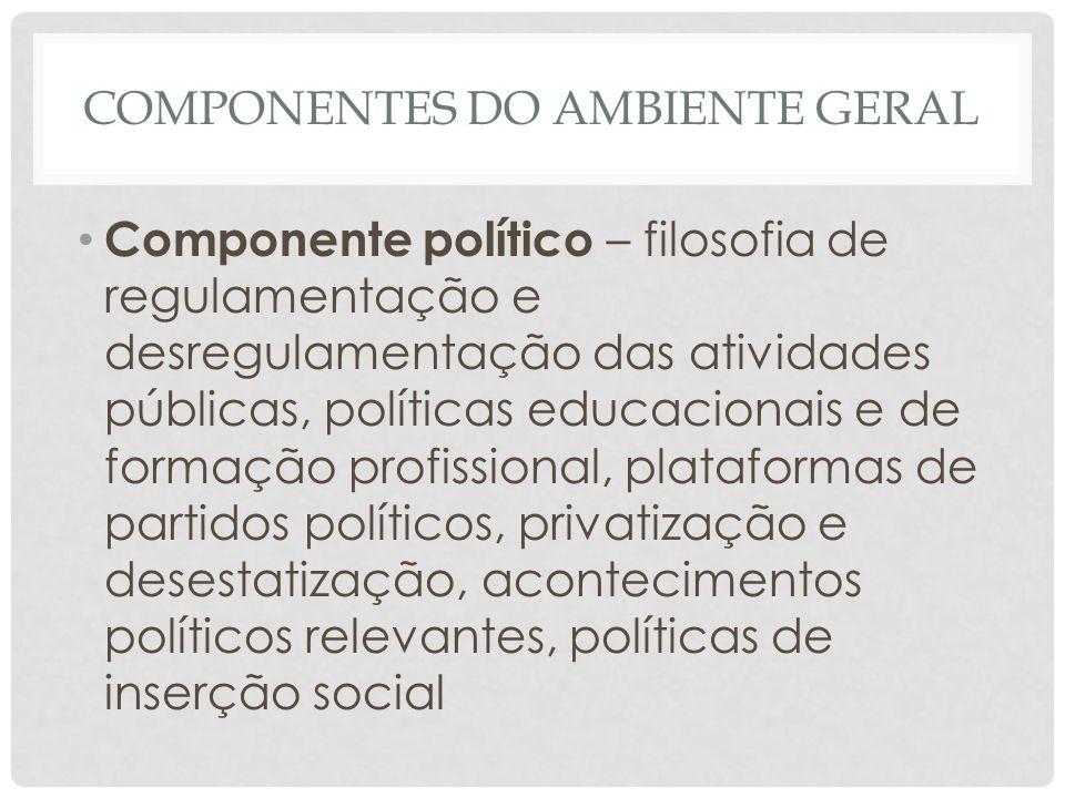 COMPONENTES DO AMBIENTE GERAL • Componente político – filosofia de regulamentação e desregulamentação das atividades públicas, políticas educacionais