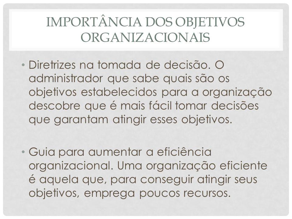 IMPORTÂNCIA DOS OBJETIVOS ORGANIZACIONAIS • Diretrizes na tomada de decisão. O administrador que sabe quais são os objetivos estabelecidos para a orga