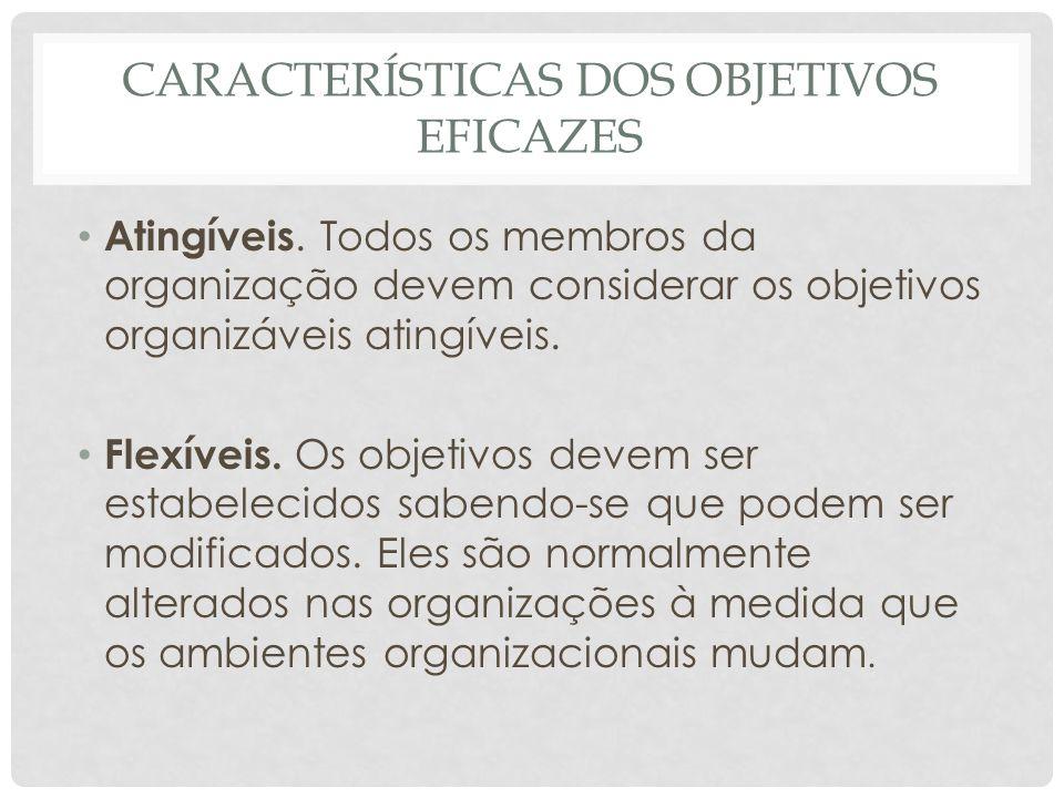 CARACTERÍSTICAS DOS OBJETIVOS EFICAZES • Atingíveis. Todos os membros da organização devem considerar os objetivos organizáveis atingíveis. • Flexívei