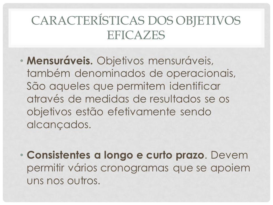 CARACTERÍSTICAS DOS OBJETIVOS EFICAZES • Mensuráveis. Objetivos mensuráveis, também denominados de operacionais, São aqueles que permitem identificar