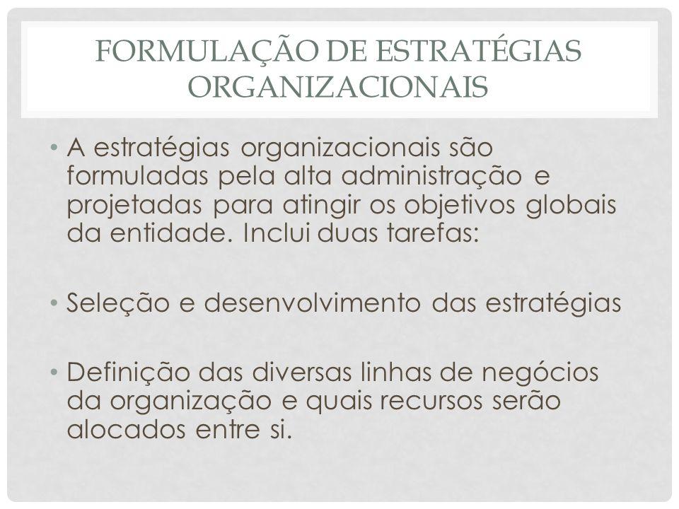 FORMULAÇÃO DE ESTRATÉGIAS ORGANIZACIONAIS • A estratégias organizacionais são formuladas pela alta administração e projetadas para atingir os objetivo