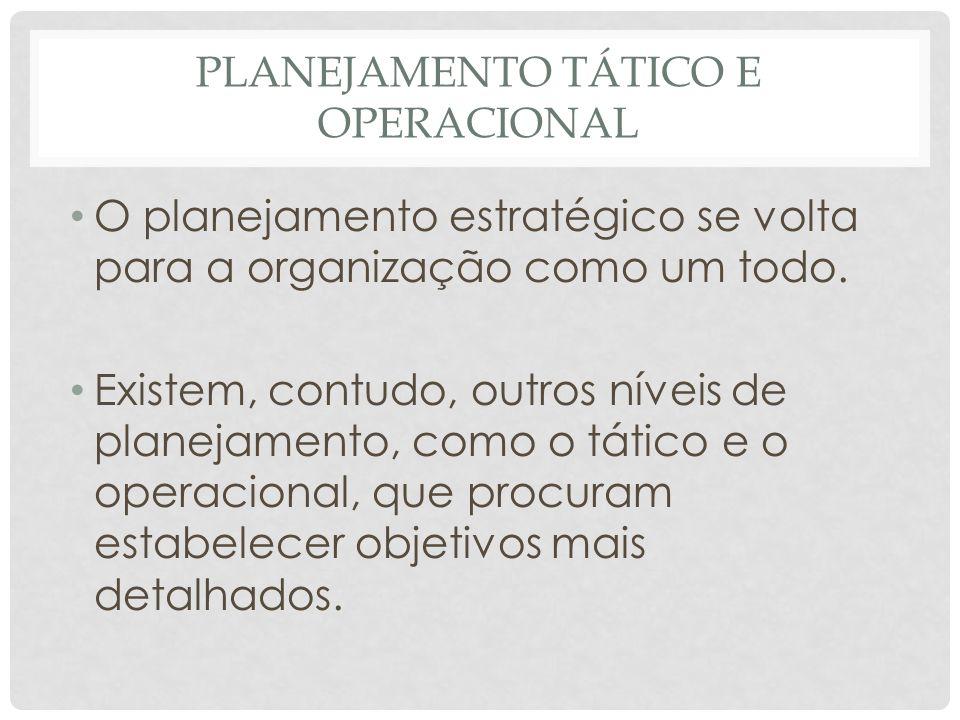 PLANEJAMENTO TÁTICO E OPERACIONAL • O planejamento estratégico se volta para a organização como um todo. • Existem, contudo, outros níveis de planejam