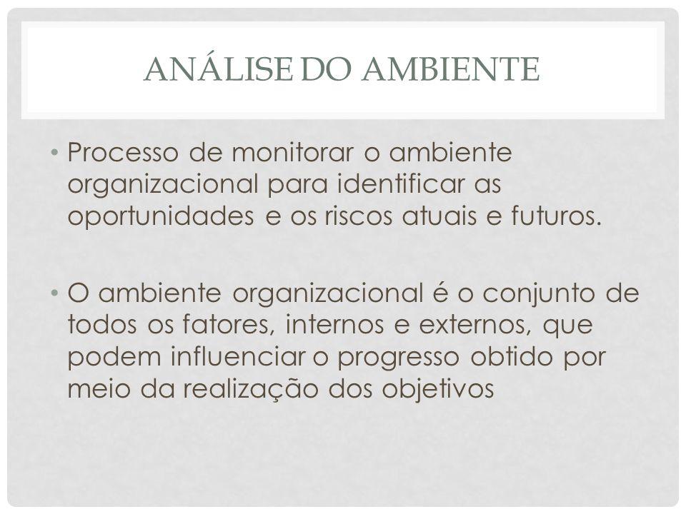 ANÁLISE DO AMBIENTE • Processo de monitorar o ambiente organizacional para identificar as oportunidades e os riscos atuais e futuros. • O ambiente org