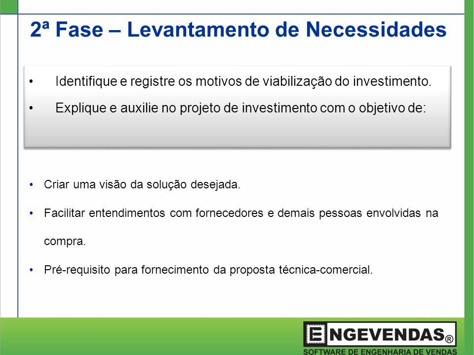 2ª Fase – Levantamento de Necessidades •Identifique e registre os motivos de viabilização do investimento. •Explique e auxilie no projeto de investime